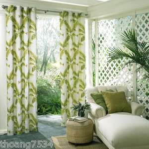 Indoor Outdoor Tropical Green Palm Leaf Curtain Drape Window Panel 50