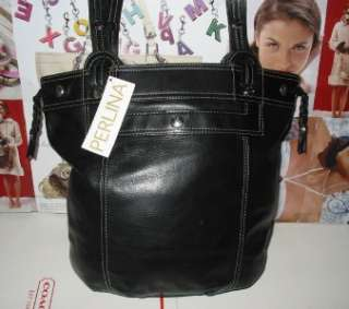 Perlina Large Black Leather Satchel Shoudler Tote $279