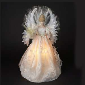 18 Pearl White Fiber Optic Angel Christmas Tree Topper