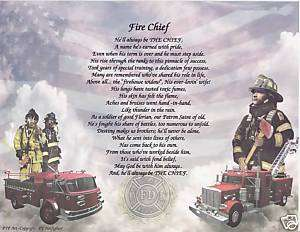 Fire Chief Poem Personalized Name Prayer Fireman Print