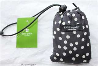 NWT KATE SPADE RAINSPOT Black and White Polka Dot Foldable Shopping