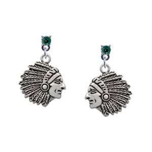 Large Indian   Mascot Emerald Swarovski Post Charm
