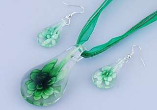 14357 8Sets Drop Murano Glass Necklace Earrings Flower