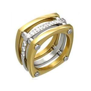 Stainless Steel 316L Ring Band Gold Plated Two Tone w/ CZ