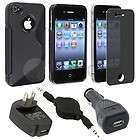 ACCESSORY for Apple iPhone 4S 4 G OS RUBBER TPU CASE+CHARGER+PRIVACY