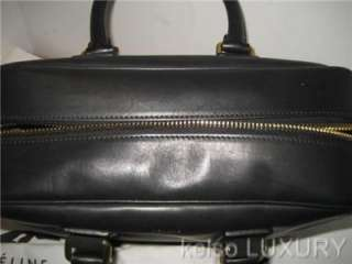 Large Black Leather Satchel Boston Tote Bag Handbag Purse~ITALY