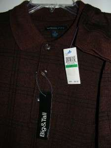 New $50 VAN HEUSEN Studio burgundy madder l/s winter shirt Big & Tall