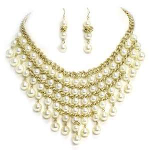 Pearl Statement Necklace Set; 18L; Gold Metal; Cream Pearls; Lobster
