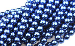 75 Royal Blue Czech Glass Pearl Beads 6MM