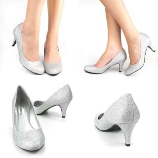 NEW SILVER GLITTER ROUND TOE MED LOW HEEL PLATFORM WOMENS PROM DRESS