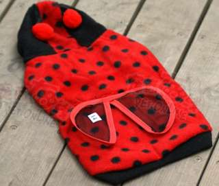 Cute Pet Dog Cat Red Ladybug Dress Up Coat Clothes XS/S/M