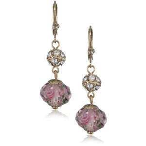 Betsey Johnson Tzarina Princess Pink Flower Bead Drop Earrings