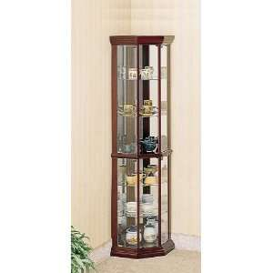 Cherry finish wood curio cabinet with glass shelves