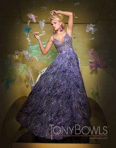 Tony Bowls 111551 Purple Chiffon Evening Gown Dress 0
