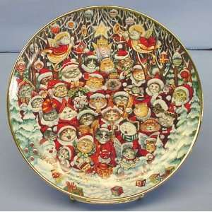 Franklin Mint Collectible Santa Claws Plate Cats