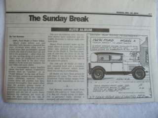1929 1/2 Ford Model A Tudor Auto Album Paper Article