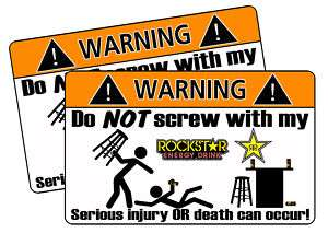 Rockstar Energy Drink Warning Sticker Decal Race MX Can