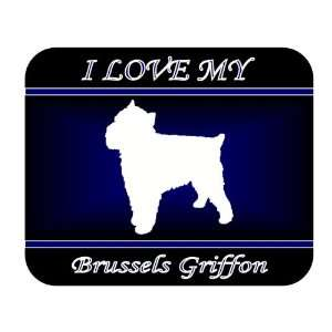 I Love My Brussels Griffon Dog Mouse Pad   Blue Design
