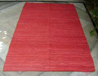 Flat Leather decorative area accent Rug 4 x 6 RED