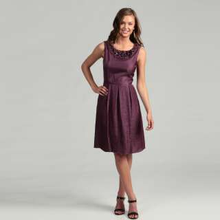Adrianna Papell Womens Ice Plum Beaded Dress