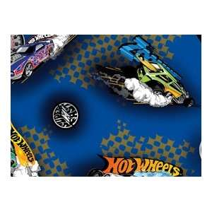 By The Yard Blue Hot Wheels Toss Quilt Cotton Fabric