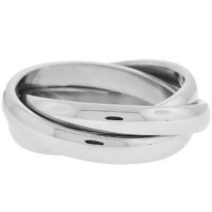 Size 6   Inox Jewelry Intertwined 316L Stainless Steel Ring Jewelry
