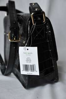 KATE SPADE Black Crocodile Embossed Croc Scout Crossbody Bag Handbag