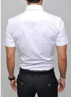 Mens Slim fit Stylish Dress Short Sleeve Shirts h188