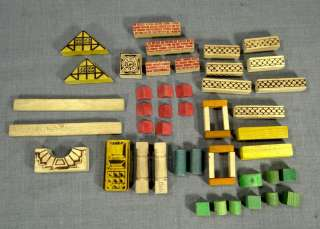 1950s WOODEN BUILDING BLOCK SET CHILDREN GAME HOUSE CUBE BRICK BOX