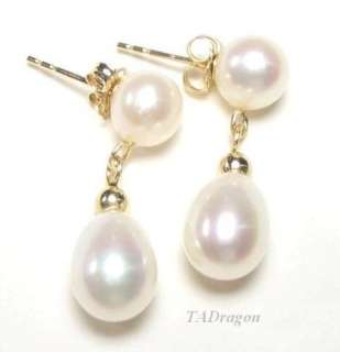 AAA White Pearl 14K Yellow Gold Dangle Post Earrings