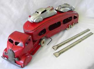 STUDEBAKER AUTO TRANSPORT COMPLETE WITH CARS   RAMPS   TAILGATE
