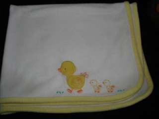 Child of Mine by Carters White Fleece Duck Baby Blanket Yellow trim
