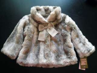 168 NWT Authentic Juicy Couture Baby Girl Blonde Faux Fur Jacket Coat