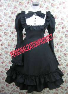 Stunning Lace cute bow cosplay Black Ball Gown cotton Dress
