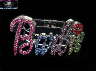 Nicki Minaj BARBIE Ice Out Bracelet Silver/Multi