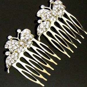 2pc Austrian rhinestone crystal butterfly hair comb pin