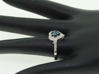 LADIES WHITE GOLD BLUE DIAMOND HEART ENGAGEMENT RING