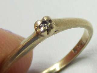 Vintage 10K Solid Yellow Gold Tiny Diamond Solitaire Ring