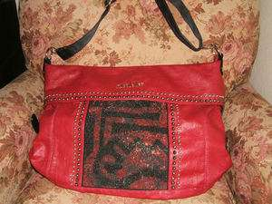 Nicole Lee Red Messenger Bag Handbag, black trim, silver studs