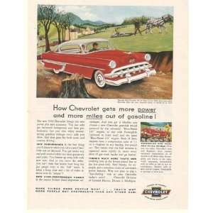 1954 Red Chevy Bel Air Sport Coupe More Power Miles Print