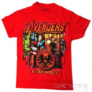 AVENGERS ASSEMBLE T SHIRT IRON MAN CAPTAIN AMERICA THE HULK THOR BLACK