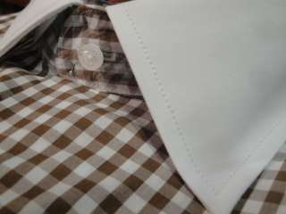STEVEN LAND SHIRT SPREAD BROWN WHITE GINGHAM CHK FRENCH