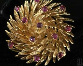 HEAVY VINTAGE 14K GOLD BEAUTIFUL 1.50CT RUBY FLOWER BROOCH