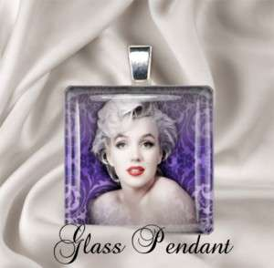 Marilyn Monroe Purple Design Glass Necklace Pendant