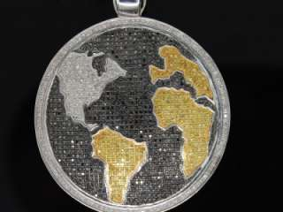 MENS WHITE GOLD FINISH PAVE DIAMOND MAP GLOBE PENDANT