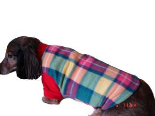 Dachshund Red, Yellow & Green Plaid Fleece Dog Sweater, XSmall