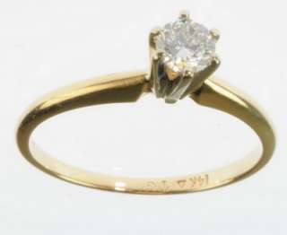 LADIES 14K YELLOW GOLD DIAMOND SOLITAIRE ESTATE RING 77295