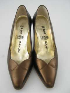 RENE MANCINI Bronze Leather Pumps Heels Shoes sz 37 1/2