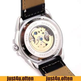 Fashion Cool Black New Design Self Wind Mens Auto Wristwatch Golden