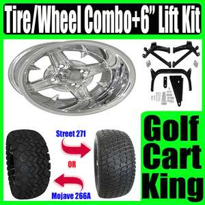 Yamaha Golf Cart Lift Kit + Polish Wheel and Tire Combo
